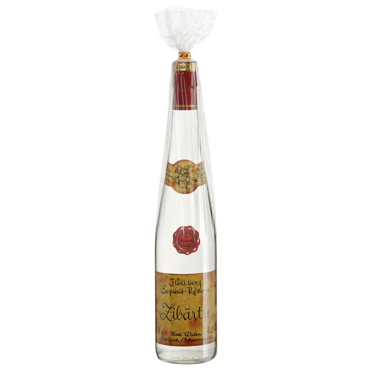 0,7 Liter Flasche Höllberg Zibärtle. Wildpflaumenschnaps