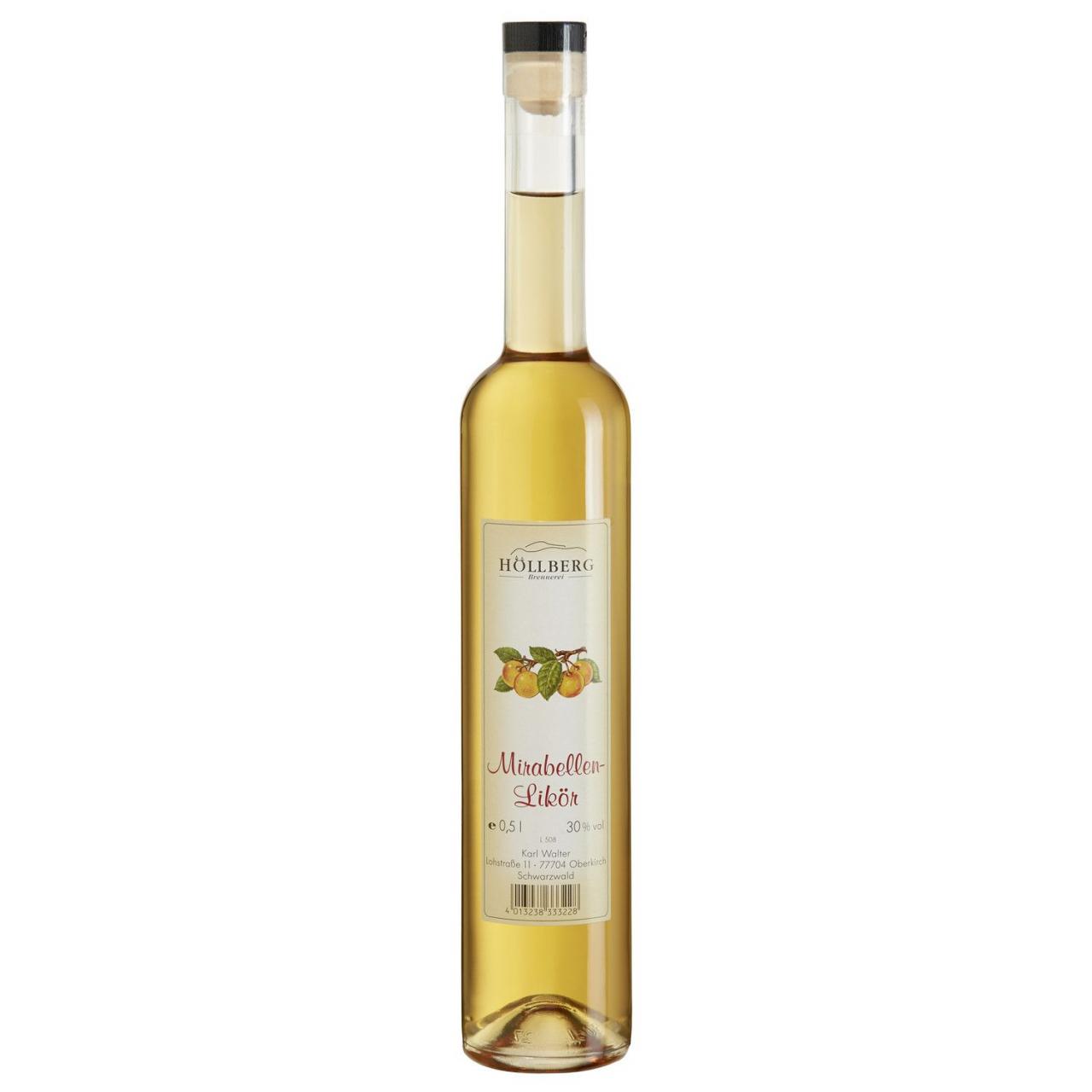 0,5 Liter Glasflasche Höllberg Mirabellenlikör mit einem Alkoholgehalt von 30%