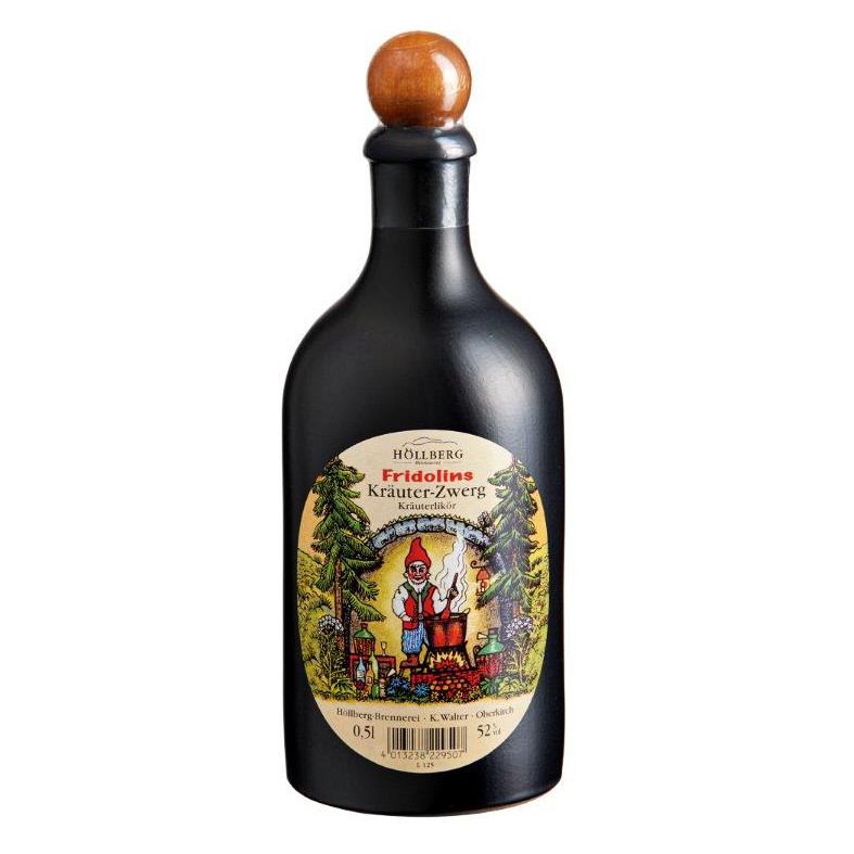 0,5 Liter Tonkrug Hoellberg Fridolin's Kräuterzwerg mit einem Alkoholgehalt von 52% col.
