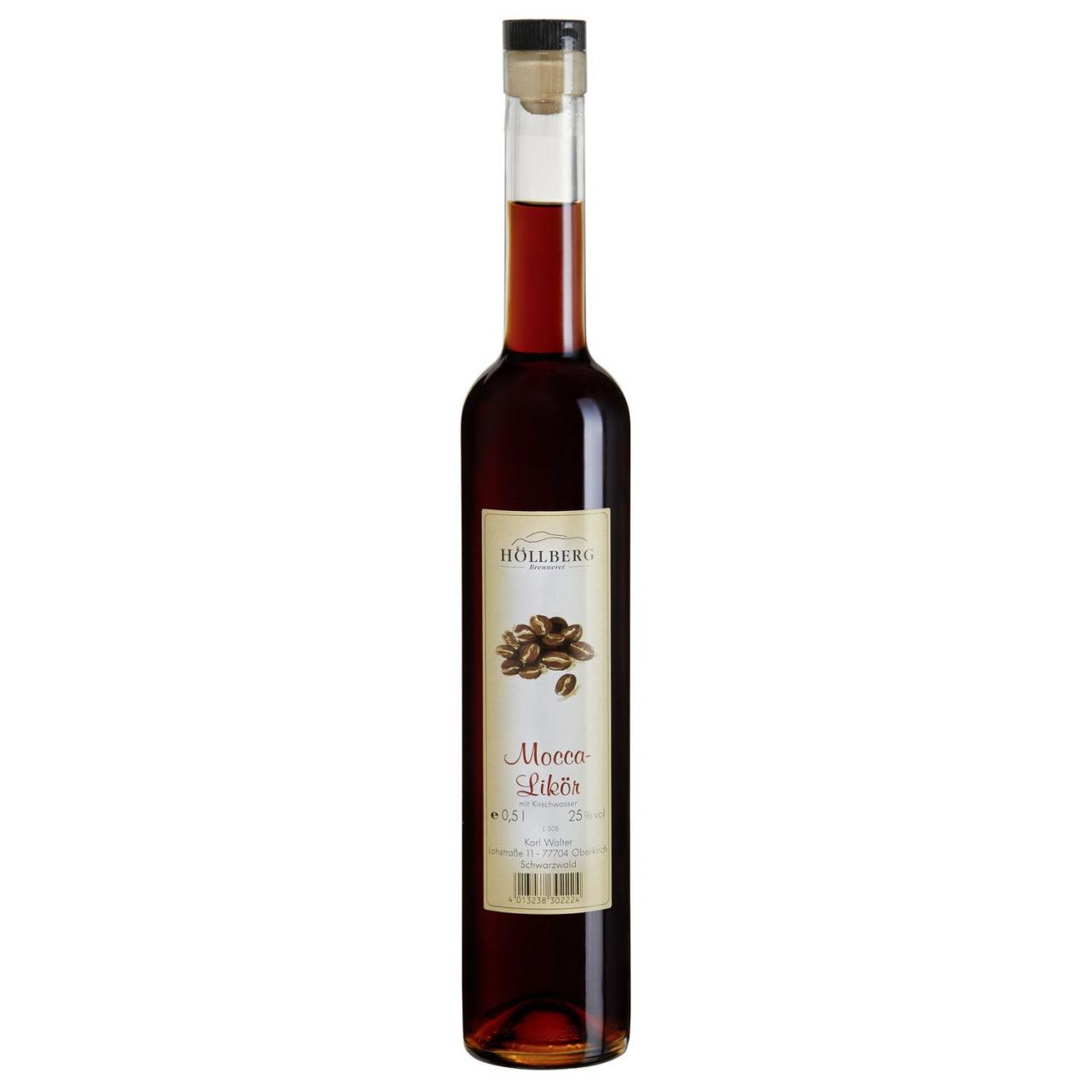 0,5 Liter Glasflasche Höllberg Mocca Likör mit einem Alkohlgehalt von 25% vol.