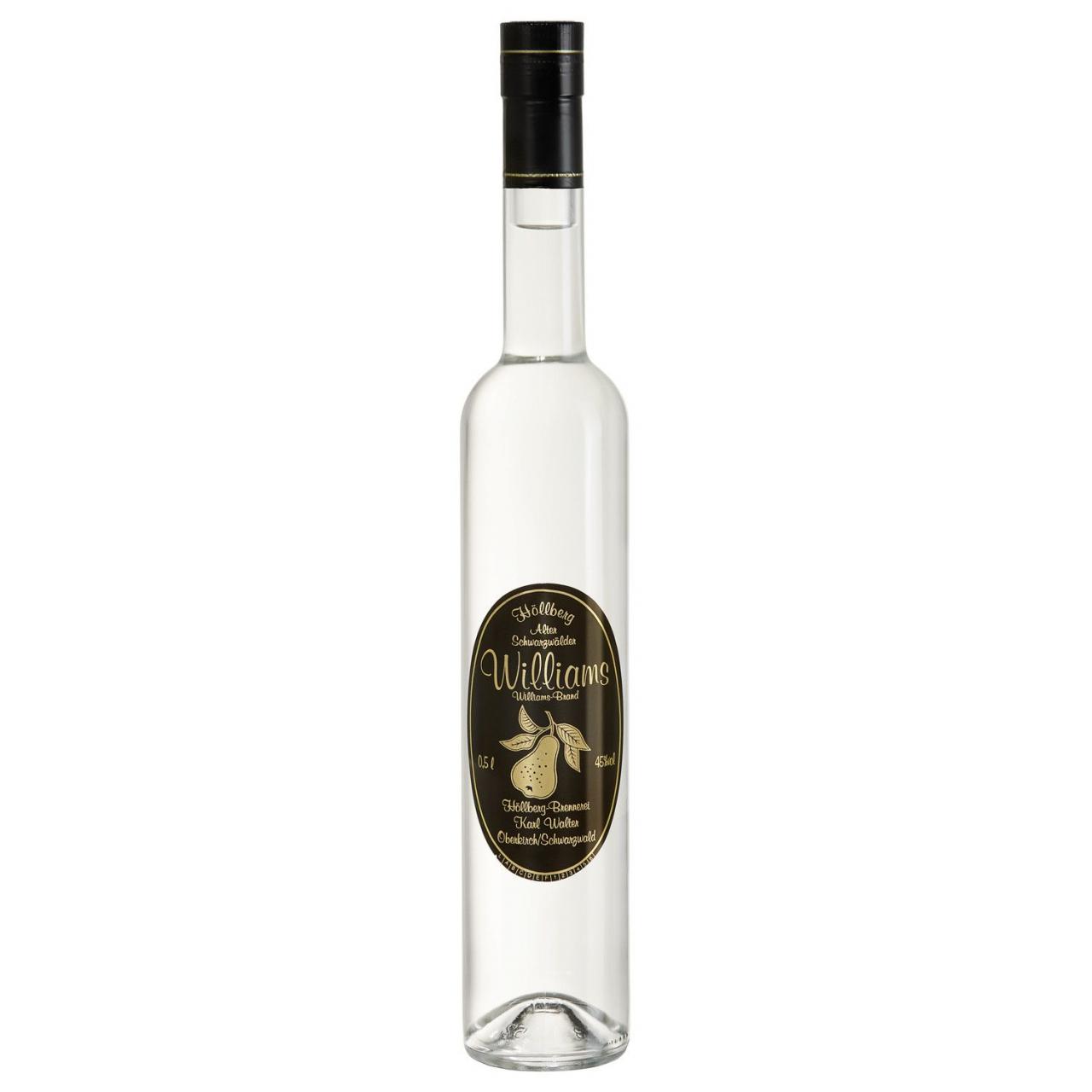 0,5 Liter Flasche Höllberg Williams-Birne mit einem Alkoholgehalt von 45% vol.