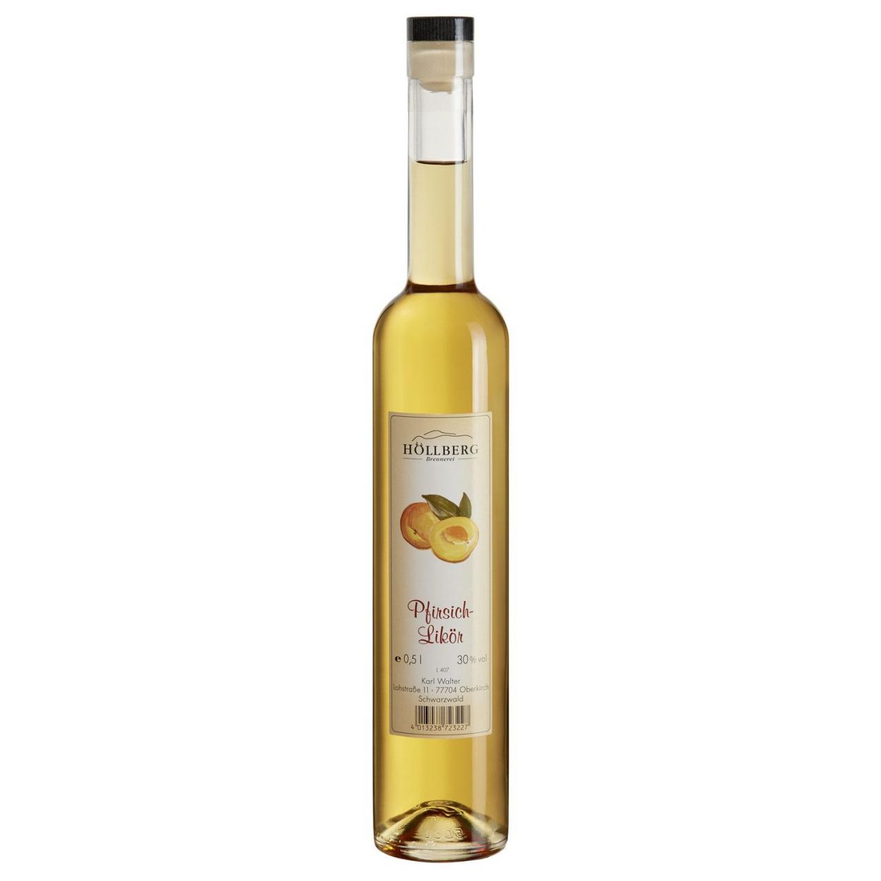 0,5 Liter Glasflasche Höllberg Pfirsichlikör