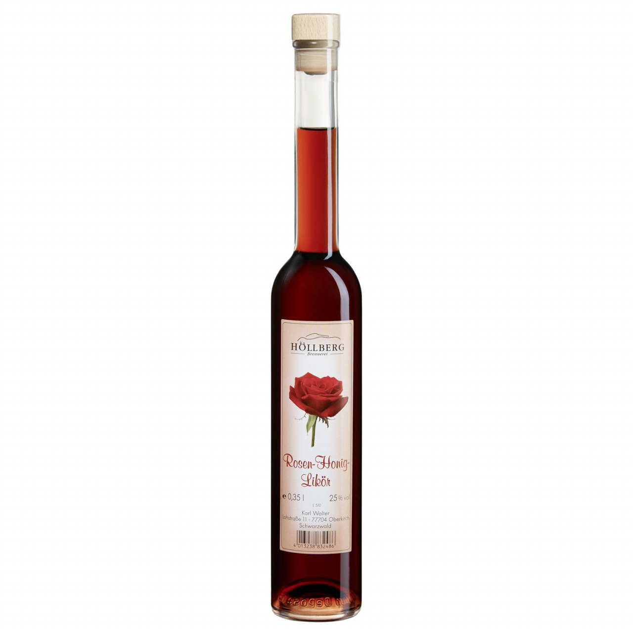 0,5 Liter Flasche Höllberg Rosen-Likör