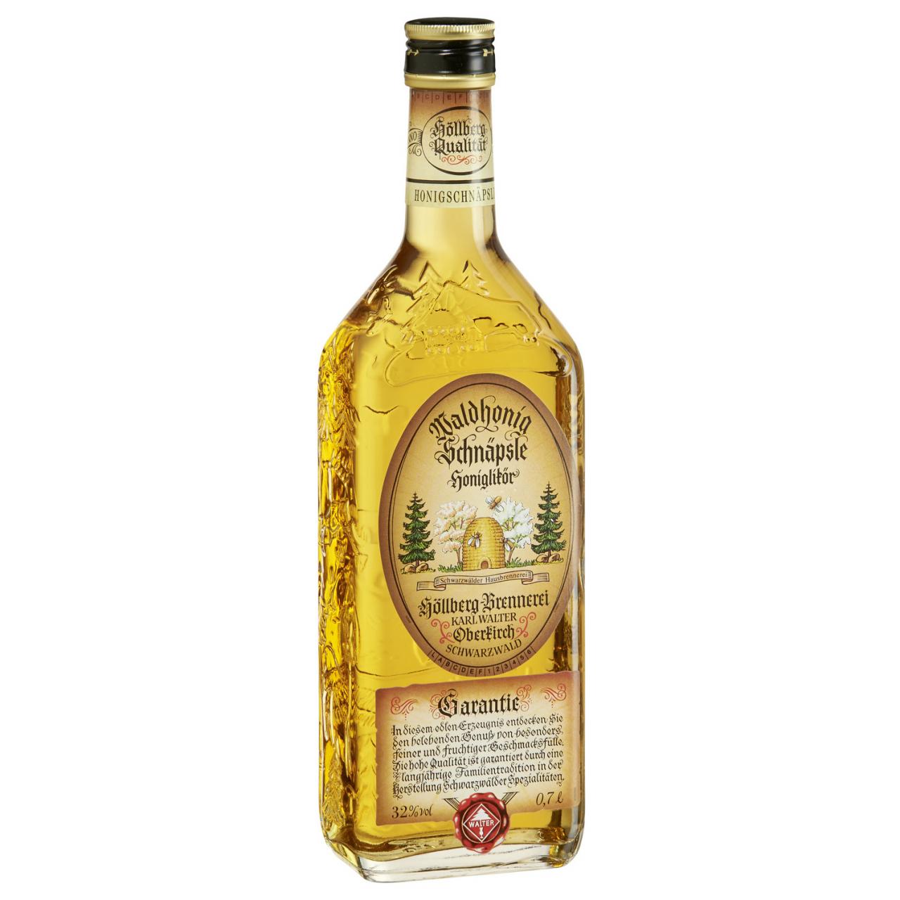 0,7 Liter vierkantflasche Höllberg Honig-Schnäpsle