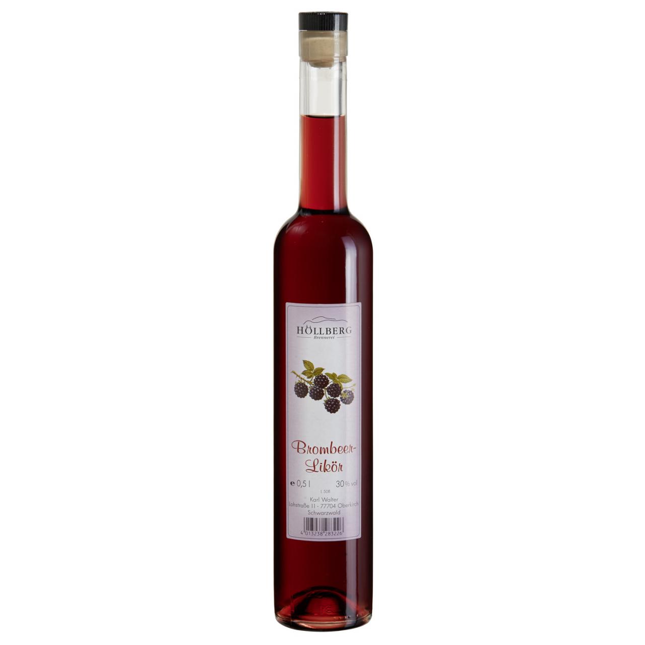 0,5 Liter Glasflasche Hoellberg Brombeerlikör mit 30% vol. Alkoholgehalt