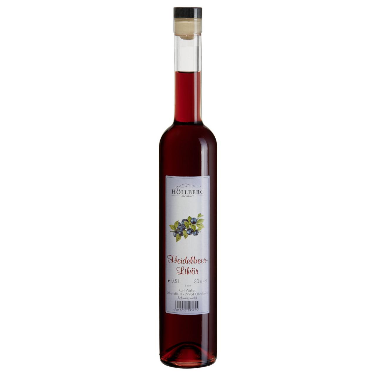 0,5 Liter Flasche Hoellberg Himbeerlikör mit einem Alkohlgehalt von 30% vol.
